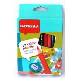 Цветни моливи NATARAJ - 12 цв. КЪСИ