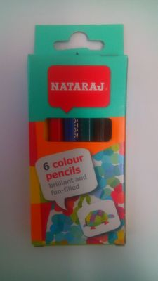 Цветни моливи NATARAJ - 6 цв. КЪСИ