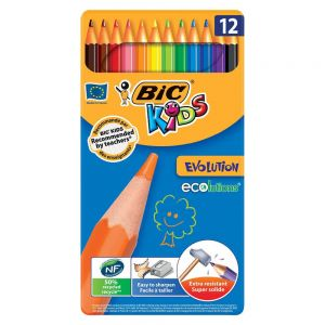 Цветни моливи BIC KIDS ECOLUTION - 12 цв., метална кутия